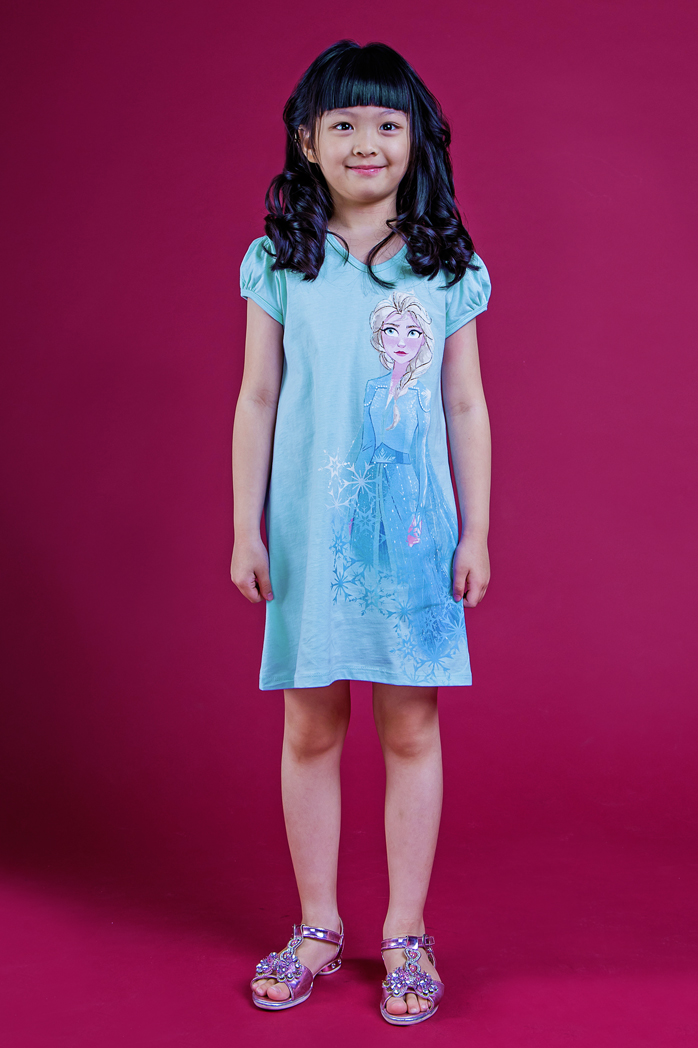DISNEY FROZEN II BLUE ELSA PUFF SLEEVES DRESS