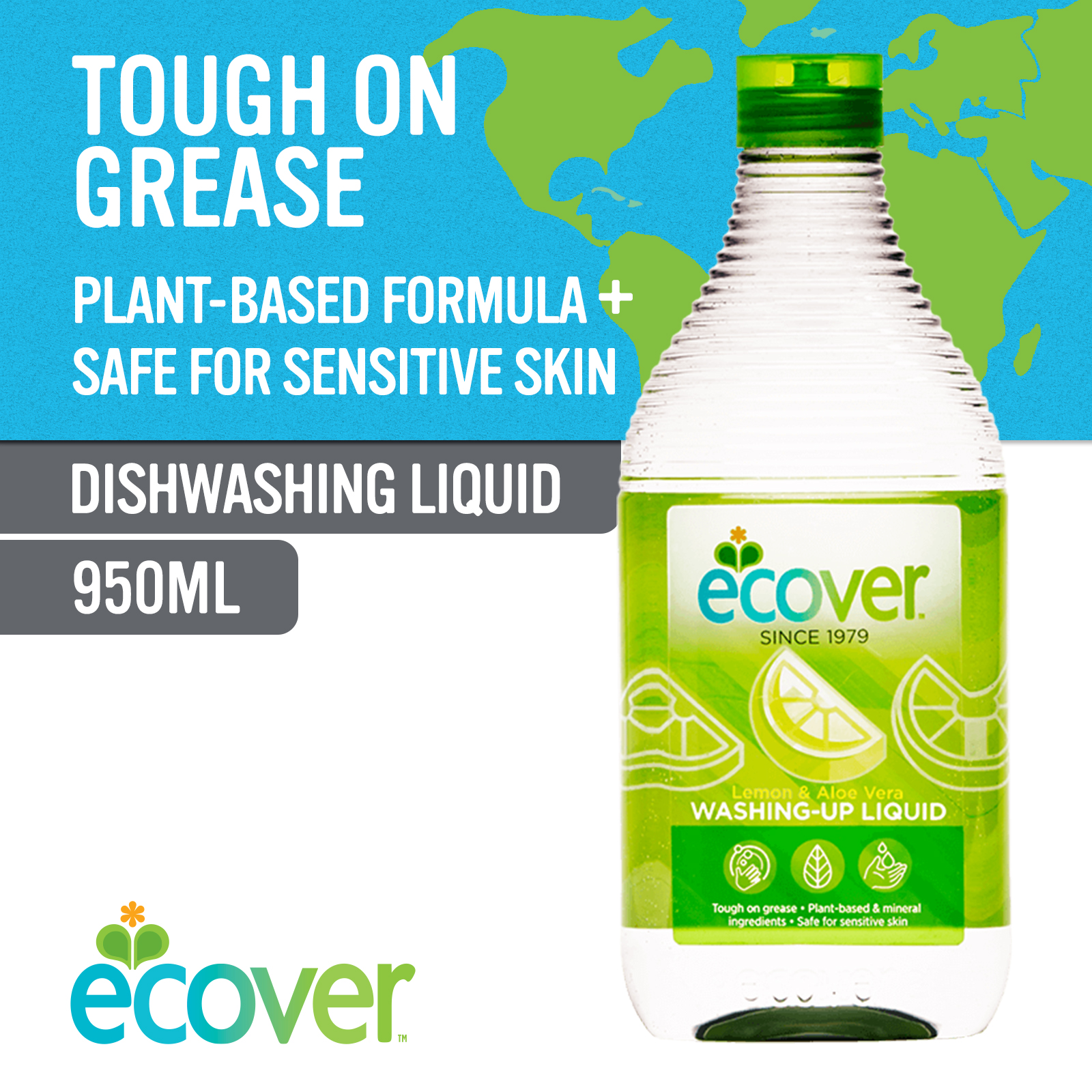 Ecover Washing-Up Liquid - Lemon & Aloe Vera 950ml