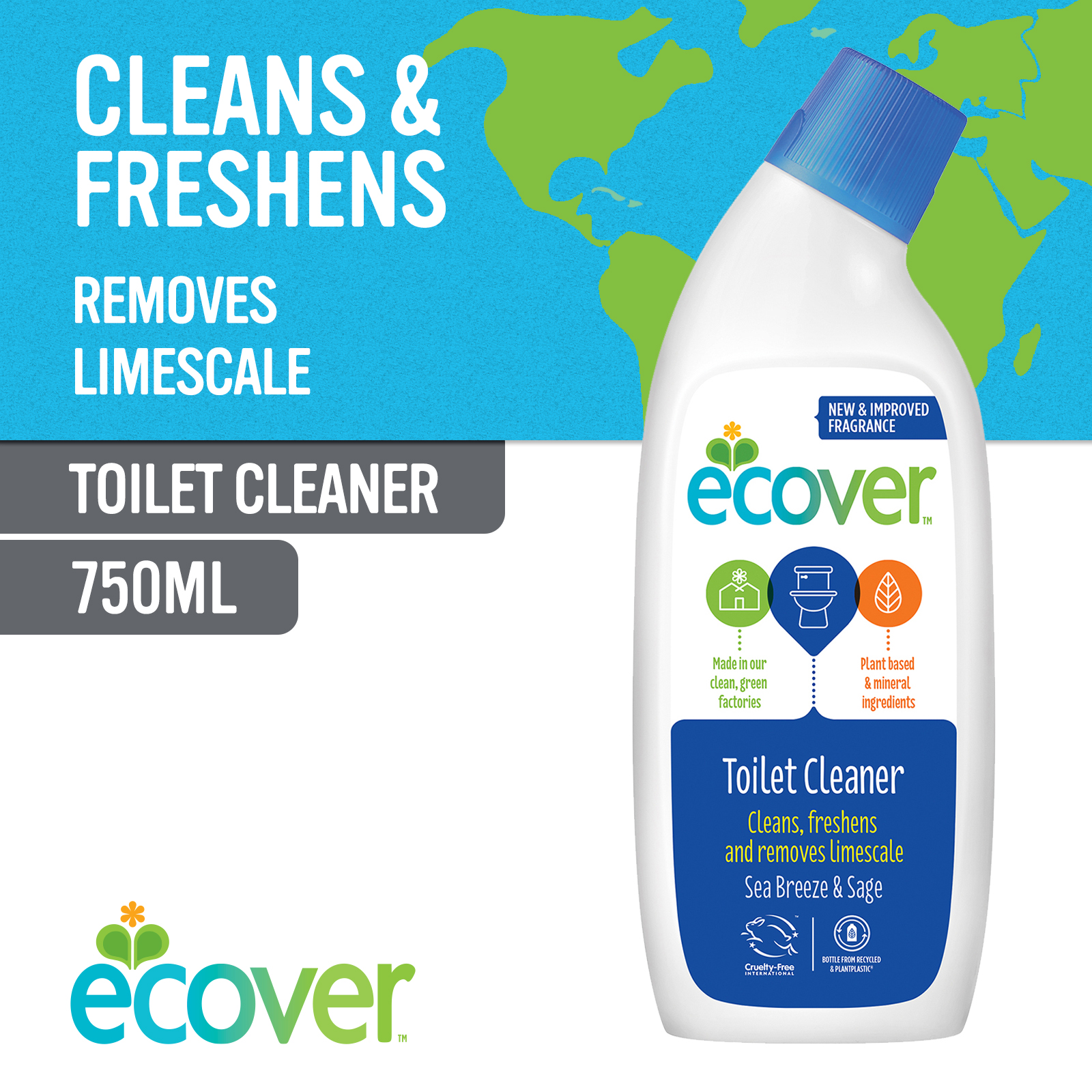Ecover Toilet Cleaner - Sea Breeze and Sage 750ml