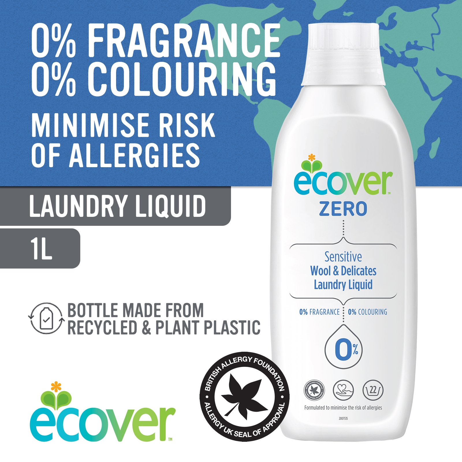 Ecover ZERO Wool & Delicates Laundry Liquid 1L