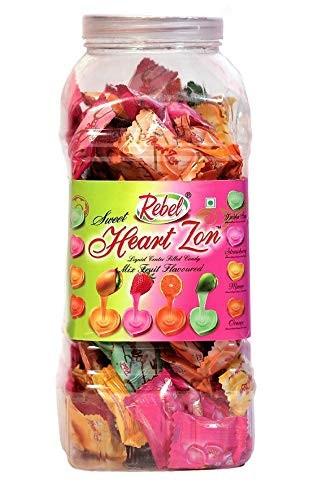 Rebel Heart Mix Fruits Toffee  Assorted Strawberry Mango Orange Kaccha Aam Candy Jar  Pack of 2