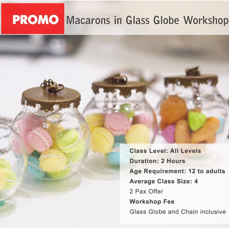 Workshop Clay Macarons or Icedgems in Glass Globe Necklaces